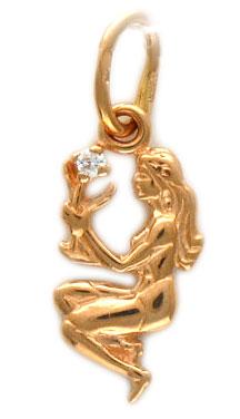 Золотой кулон со знаком зодиака дева